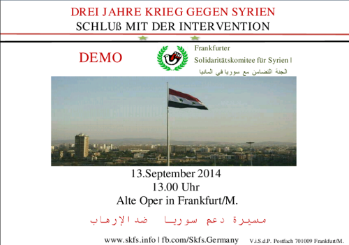 Syrische Fahne in Damaskus - Aufruf zur Demonstration am 13.09.2014 in Frankfurt/M